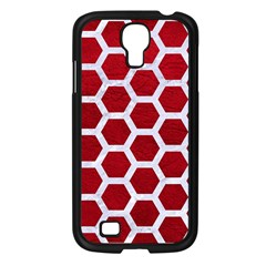 Hexagon2 White Marble & Red Leather Samsung Galaxy S4 I9500/ I9505 Case (black) by trendistuff