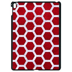 Hexagon2 White Marble & Red Leather Apple Ipad Pro 9 7   Black Seamless Case by trendistuff