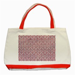 Hexagon1 White Marble & Red Leather (r) Classic Tote Bag (red) by trendistuff