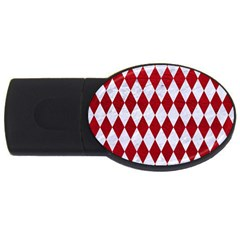 Diamond1 White Marble & Red Leather Usb Flash Drive Oval (4 Gb)