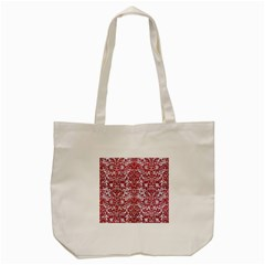 Damask2 White Marble & Red Leather (r) Tote Bag (cream) by trendistuff