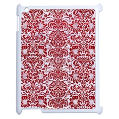 Damask2 White Marble & Red Leather (r) Apple Ipad 2 Case (white) by trendistuff