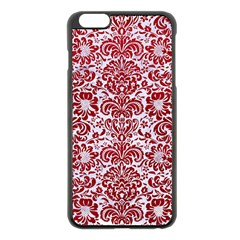 Damask2 White Marble & Red Leather (r) Apple Iphone 6 Plus/6s Plus Black Enamel Case by trendistuff