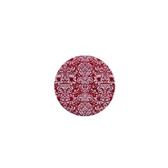 Damask2 White Marble & Red Leather 1  Mini Buttons