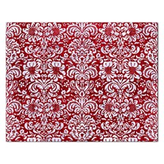 Damask2 White Marble & Red Leather Rectangular Jigsaw Puzzl by trendistuff