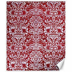 Damask2 White Marble & Red Leather Canvas 20  X 24   by trendistuff