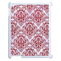 Damask1 White Marble & Red Leather (r) Apple Ipad 2 Case (white) by trendistuff