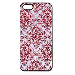 Damask1 White Marble & Red Leather (r) Apple Iphone 5 Seamless Case (black) by trendistuff