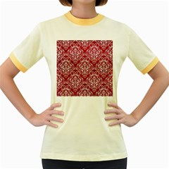 Damask1 White Marble & Red Leather Women s Fitted Ringer T Shirts