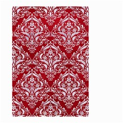 Damask1 White Marble & Red Leather Small Garden Flag (two Sides) by trendistuff