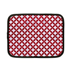 Circles3 White Marble & Red Leather (r) Netbook Case (small)  by trendistuff