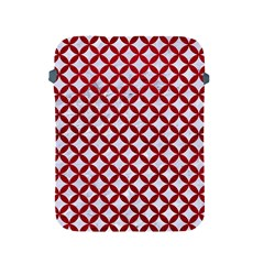 Circles3 White Marble & Red Leather (r) Apple Ipad 2/3/4 Protective Soft Cases