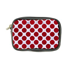 Circles2 White Marble & Red Leather (r) Coin Purse by trendistuff
