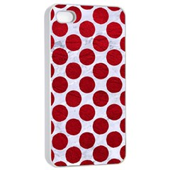 Circles2 White Marble & Red Leather (r) Apple Iphone 4/4s Seamless Case (white) by trendistuff