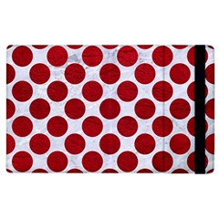 Circles2 White Marble & Red Leather (r) Apple Ipad 2 Flip Case by trendistuff