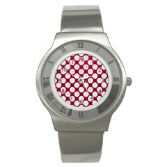 Circles2 White Marble & Red Leather Stainless Steel Watch by trendistuff