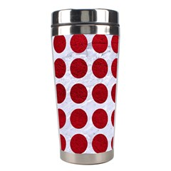 Circles1 White Marble & Red Leather (r) Stainless Steel Travel Tumblers by trendistuff
