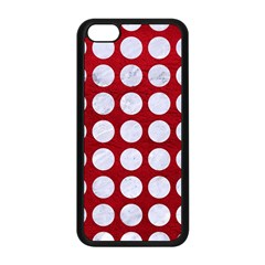 Circles1 White Marble & Red Leather Apple Iphone 5c Seamless Case (black) by trendistuff