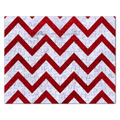 Chevron9 White Marble & Red Leather (r) Rectangular Jigsaw Puzzl