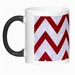 Chevron9 White Marble & Red Leather (r) Morph Mugs by trendistuff