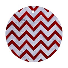 Chevron9 White Marble & Red Leather (r) Round Ornament (two Sides) by trendistuff
