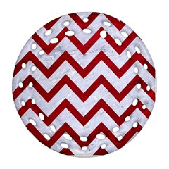 Chevron9 White Marble & Red Leather (r) Ornament (round Filigree) by trendistuff