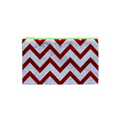 Chevron9 White Marble & Red Leather (r) Cosmetic Bag (xs) by trendistuff