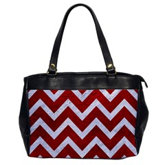 Chevron9 White Marble & Red Leather Office Handbags by trendistuff