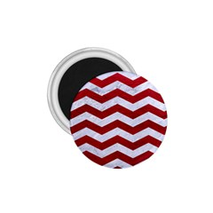 Chevron3 White Marble & Red Leather 1 75  Magnets by trendistuff