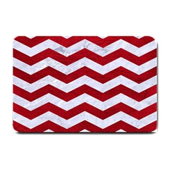 Chevron3 White Marble & Red Leather Small Doormat  by trendistuff