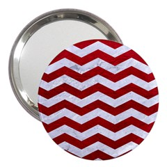 Chevron3 White Marble & Red Leather 3  Handbag Mirrors by trendistuff