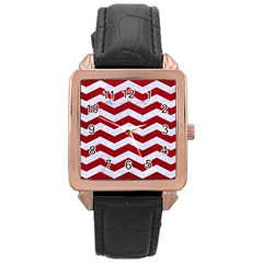Chevron3 White Marble & Red Leather Rose Gold Leather Watch  by trendistuff