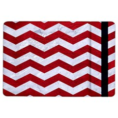 Chevron3 White Marble & Red Leather Ipad Air 2 Flip by trendistuff