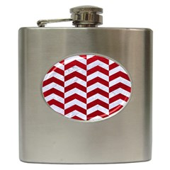 Chevron2 White Marble & Red Leather Hip Flask (6 Oz) by trendistuff