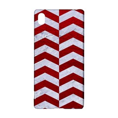 Chevron2 White Marble & Red Leather Sony Xperia Z3+ by trendistuff
