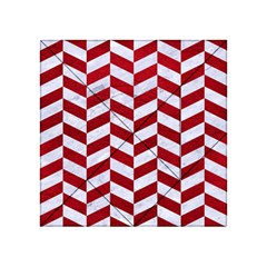 Chevron1 White Marble & Red Leather Acrylic Tangram Puzzle (4  X 4 ) by trendistuff