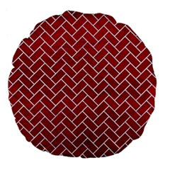 Brick2 White Marble & Red Leather Large 18  Premium Flano Round Cushions by trendistuff