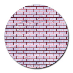 Brick1 White Marble & Red Leather (r) Round Mousepads by trendistuff