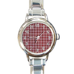 Woven1 White Marble & Red Grunge Round Italian Charm Watch by trendistuff
