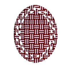Woven1 White Marble & Red Grunge Ornament (oval Filigree) by trendistuff