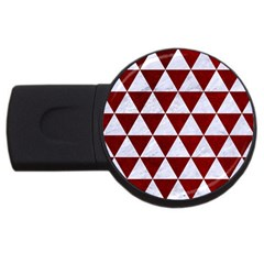 Triangle3 White Marble & Red Grunge Usb Flash Drive Round (4 Gb) by trendistuff