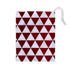 Triangle3 White Marble & Red Grunge Drawstring Pouches (large)  by trendistuff