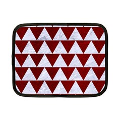 Triangle2 White Marble & Red Grunge Netbook Case (small)