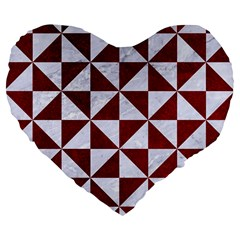 Triangle1 White Marble & Red Grunge Large 19  Premium Flano Heart Shape Cushions by trendistuff
