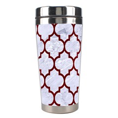 Tile1 White Marble & Red Grunge (r) Stainless Steel Travel Tumblers by trendistuff