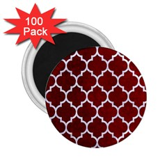 Tile1 White Marble & Red Grunge 2 25  Magnets (100 Pack)  by trendistuff