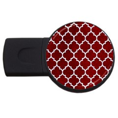 Tile1 White Marble & Red Grunge Usb Flash Drive Round (2 Gb)