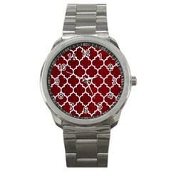 Tile1 White Marble & Red Grunge Sport Metal Watch by trendistuff