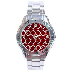 Tile1 White Marble & Red Grunge Stainless Steel Analogue Watch by trendistuff