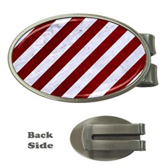 Stripes3 White Marble & Red Grunge (r) Money Clips (oval)  by trendistuff
